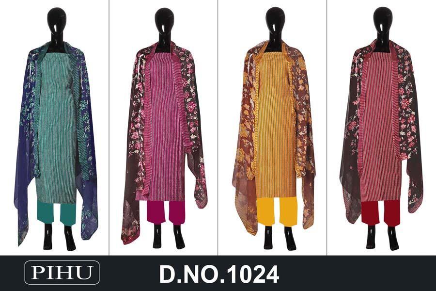 Jain Tex Pihu 1024 Series Designer Pashmina Print With Shawl Dupatta Suits Wholesale