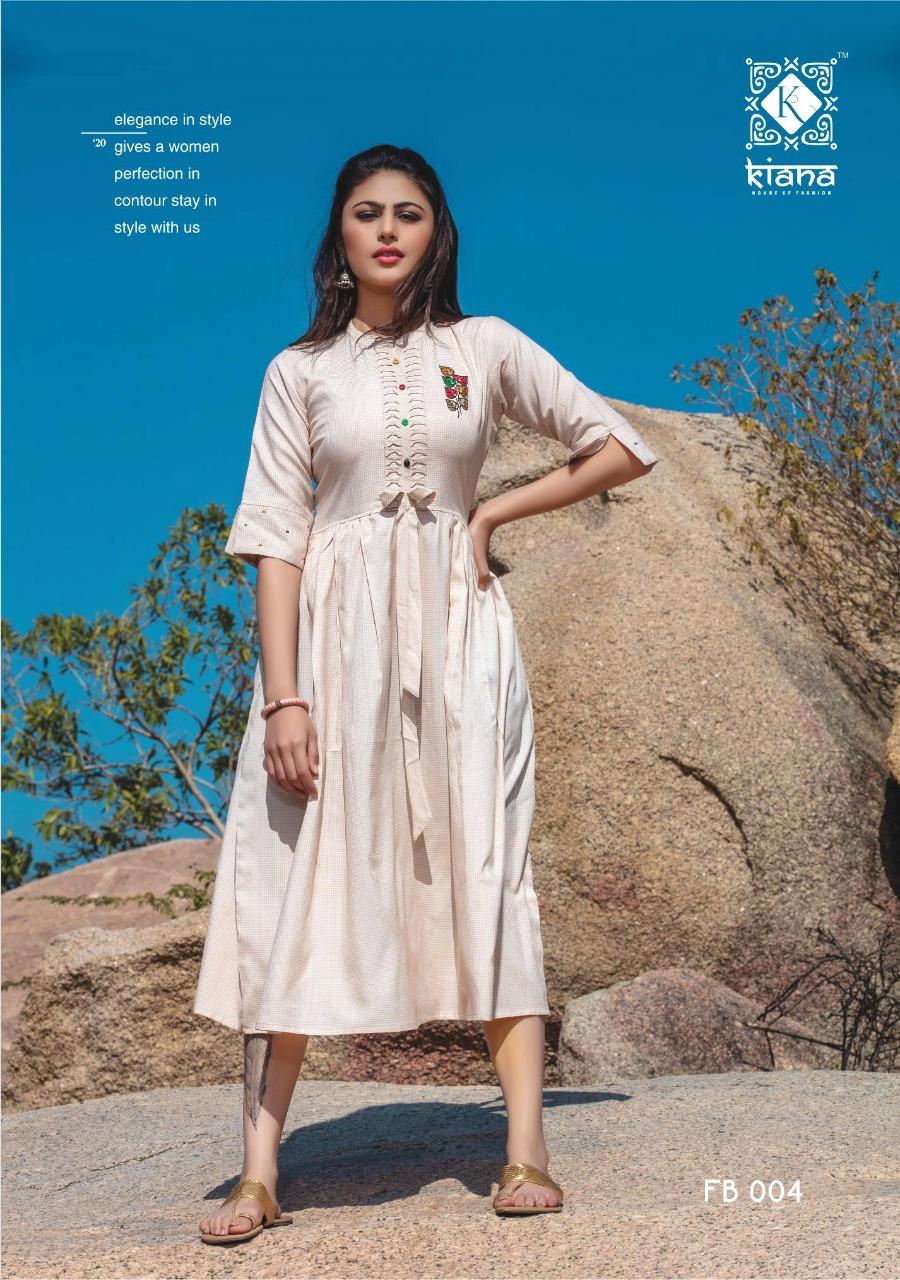Kiana Free Bird Designer Western Style Rayon Embroidery Work Kurtis Wholesale