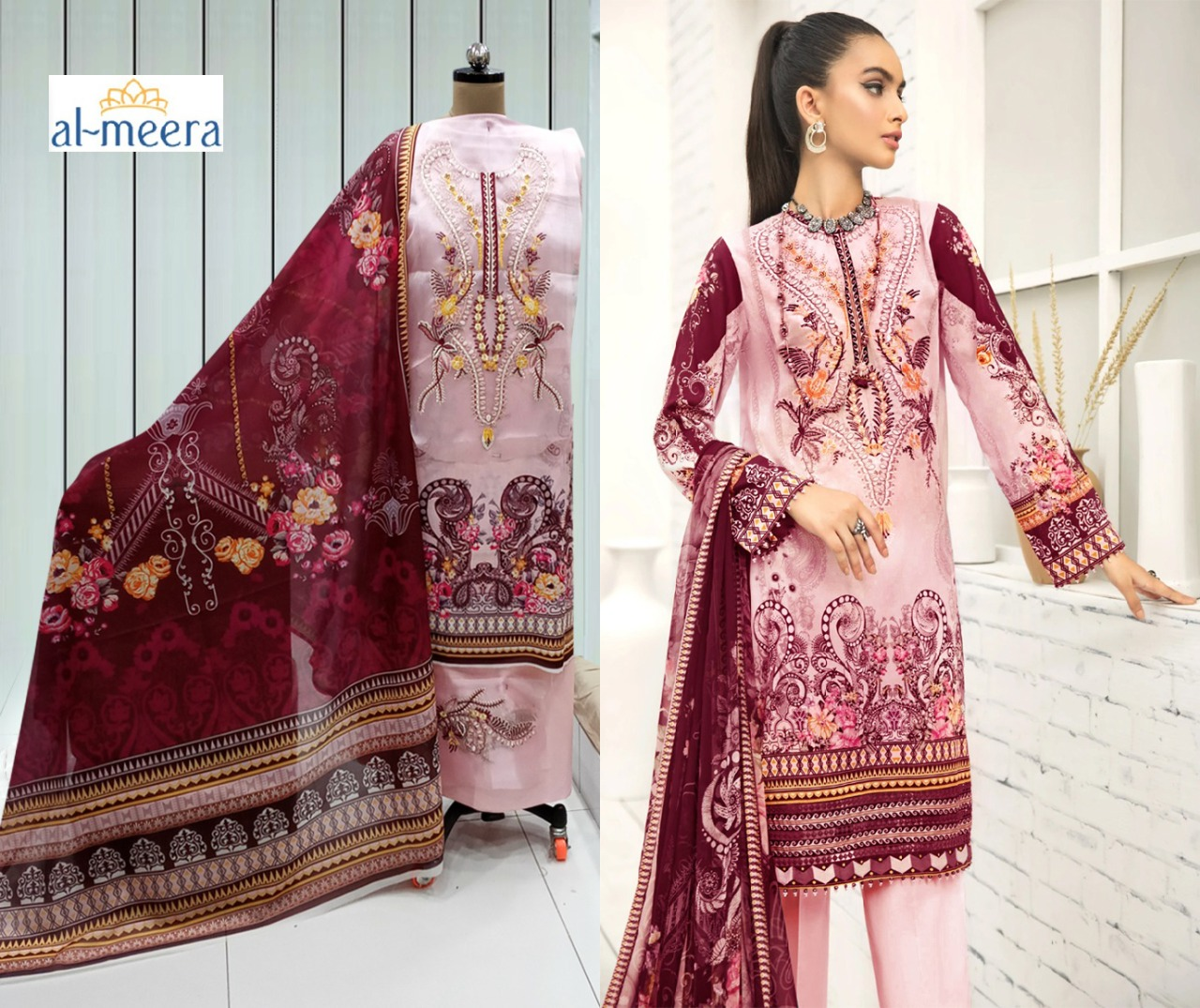 Al Meera 1209 Crimson Designer Luxury Lawn With Embroidery Work Suits Wholesale