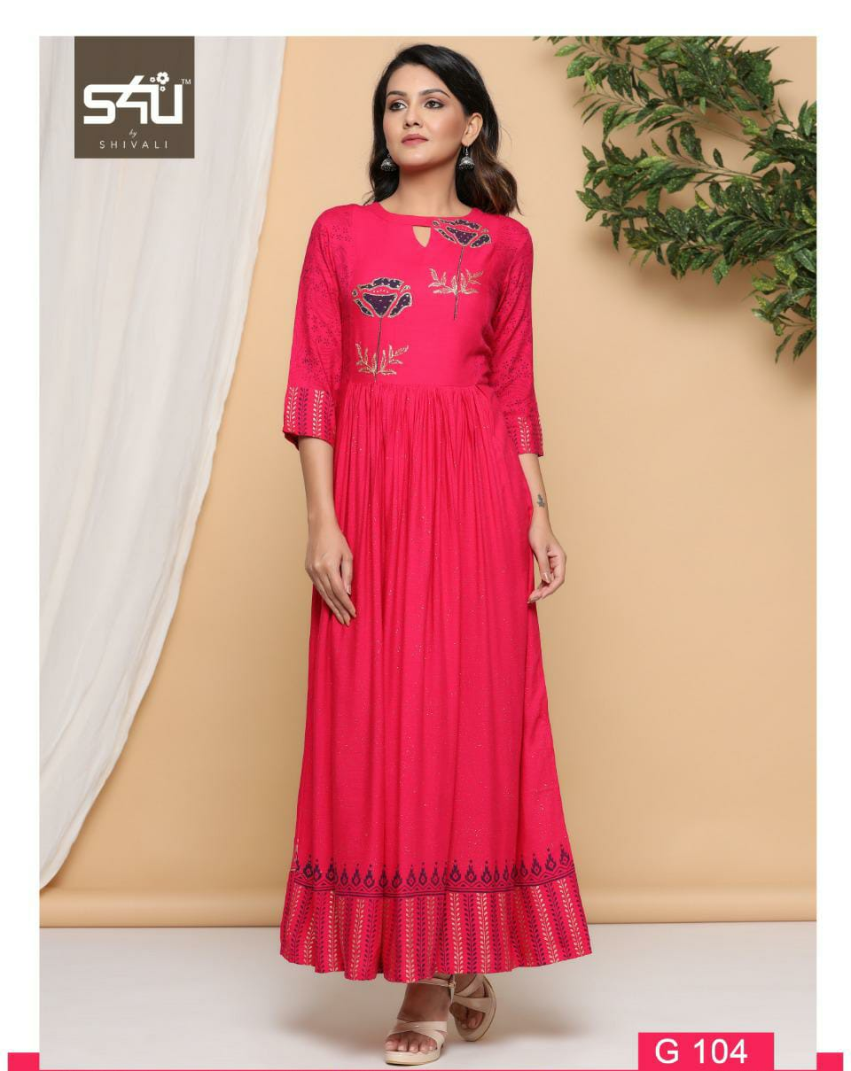 S4u Gold Designer Festive Wear And Gold Printed Western Dresses Wholesale