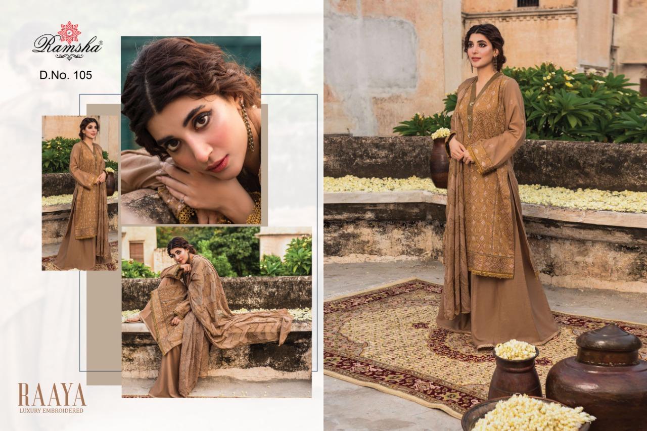 Ramsha Raaya Designer Jam Silk Cotton With Heavy Embroiderd Suits Wholesale