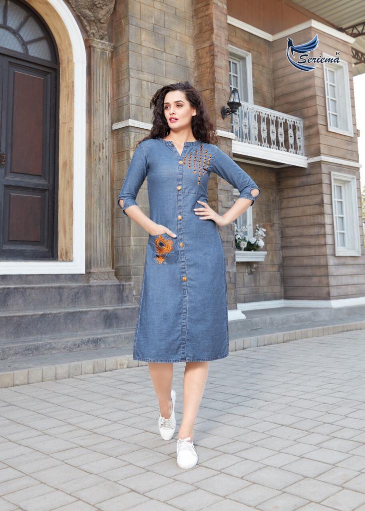 Seriema Kumb Seleecker Designer Cotton Denim Western Dresses Wholesale