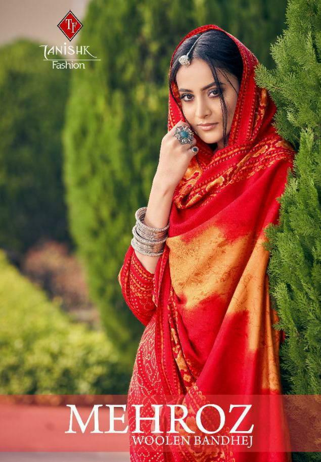 Tanishk Fashion Mehroj Bandhej Designer Hiring Bond With Pashmina Bandhej Digital Printed Suits Wholesale