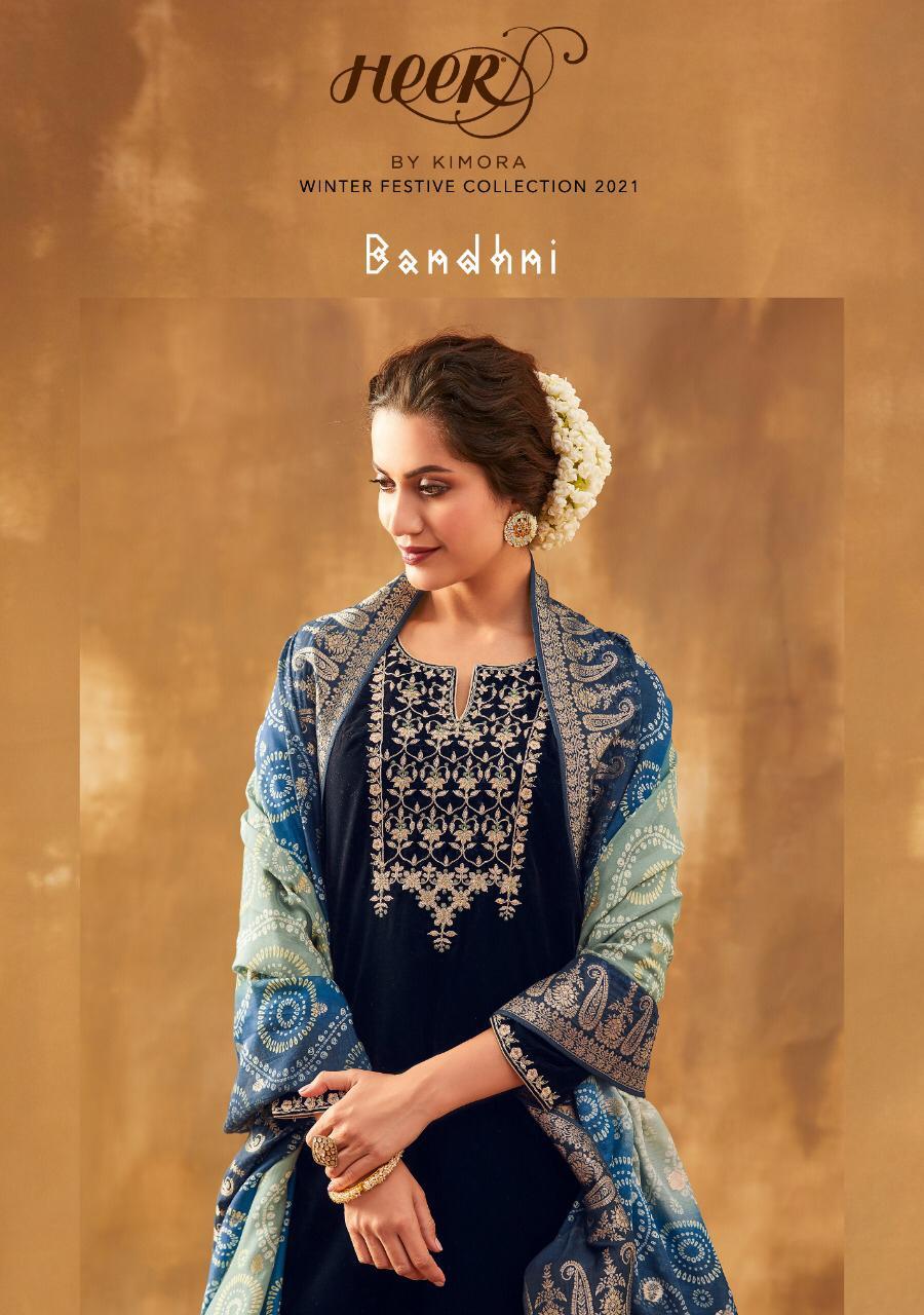 Kimora Bandhni Pure Spun Silk Jacquard With Digital Bandhni Printed Suits Wholesale