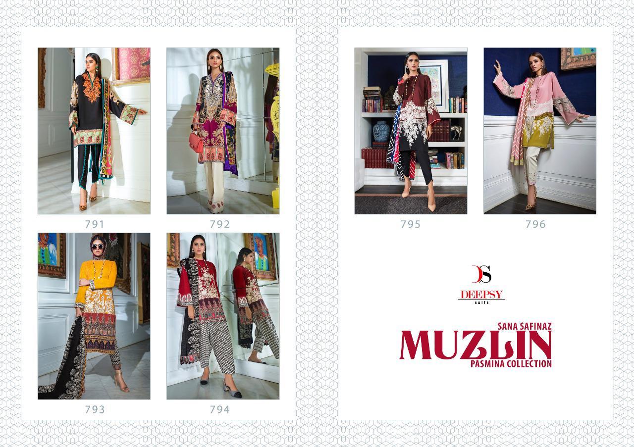 Deepsy Suits Sana Safinaz Muzlin Pashmina Designer Pashmina Print With Embroidery Work Suits Wholesale
