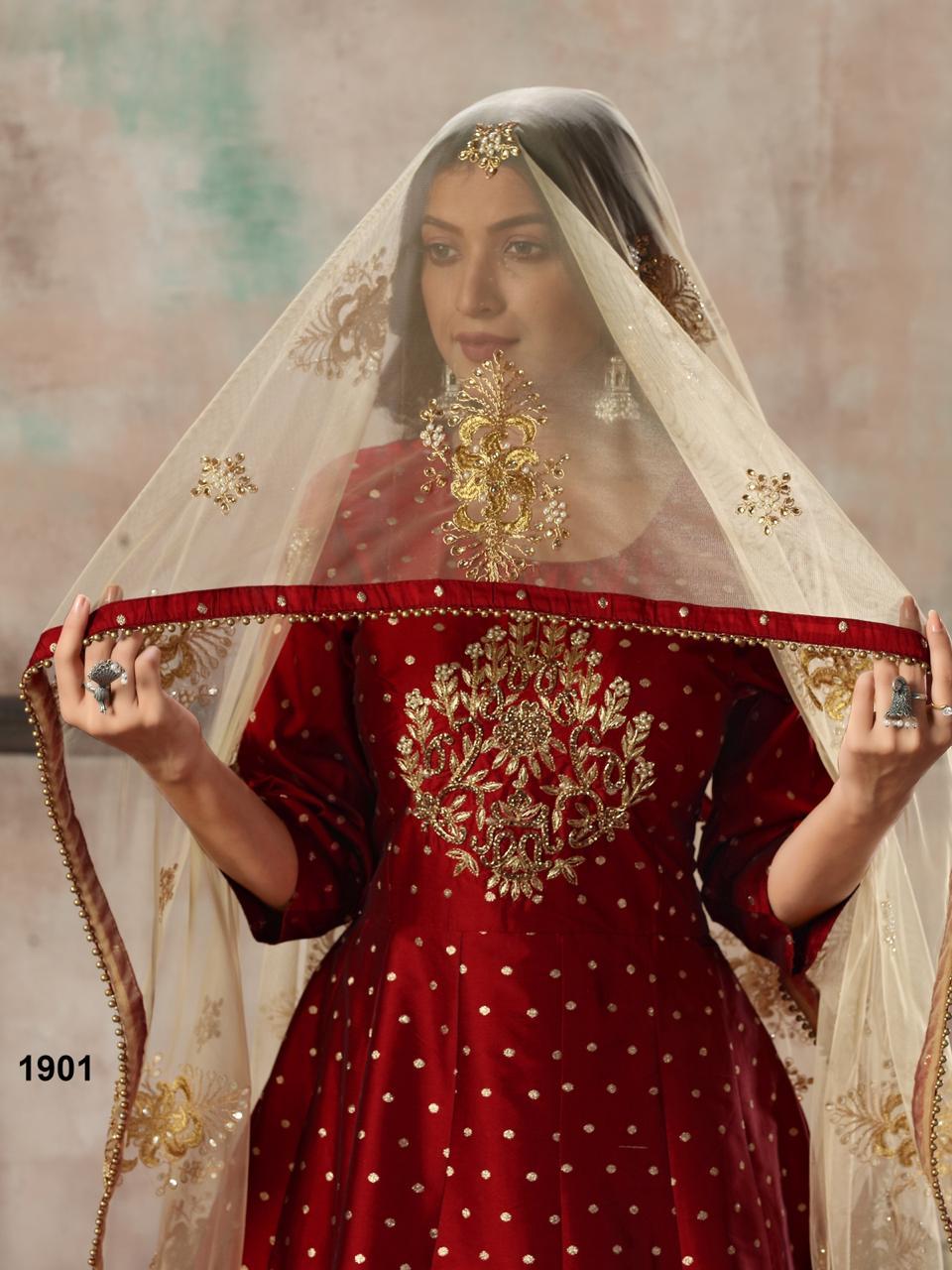 Dani Twisha 1900 Series Designer Tafeta Butti Gown With Heavy Dupatta Wholesale