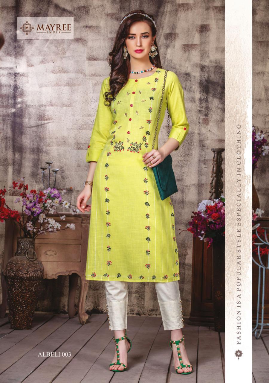Mayree India Albeli Designer Rayon Print With Worked Straight Kurtis Wholesale