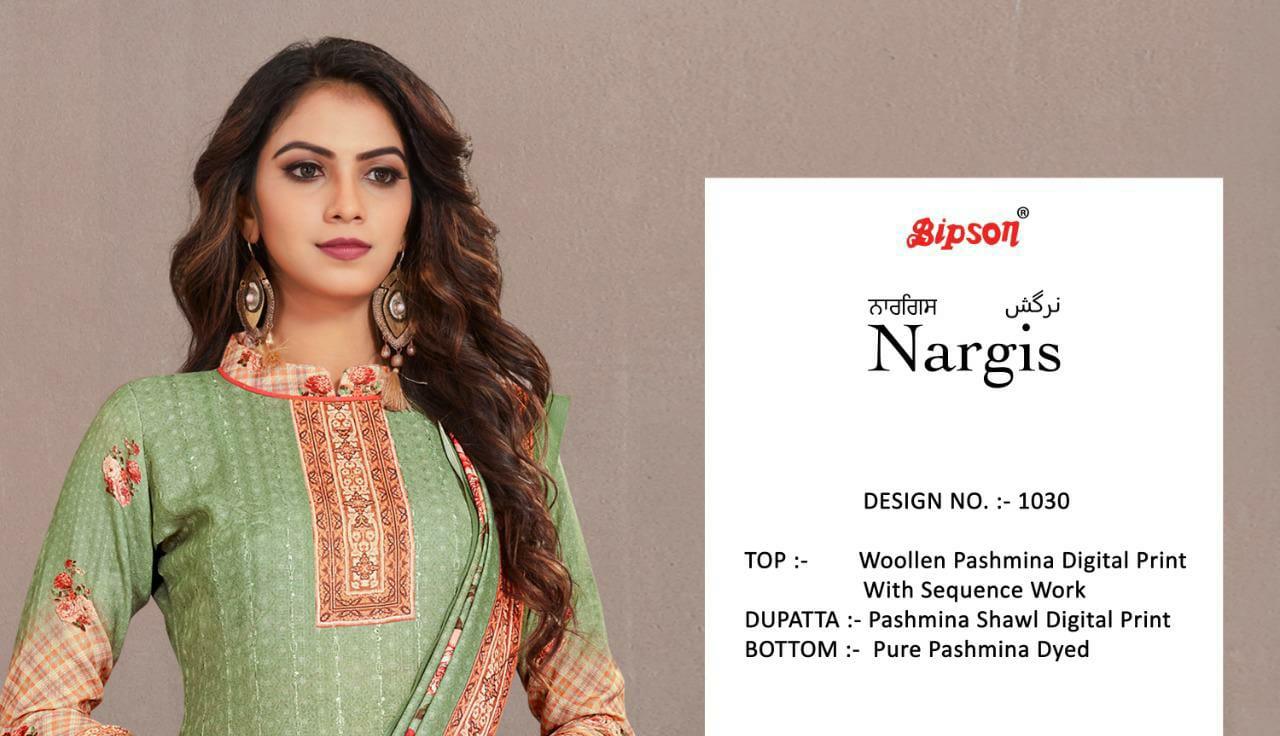 Bipson Nargis 1130 Designer Woolen Pashmina Digital Printed Suits Wholesale