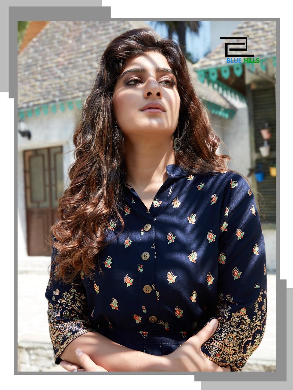 Blue Hills V Desi Designer Long Gown With Foil Print Wholesale