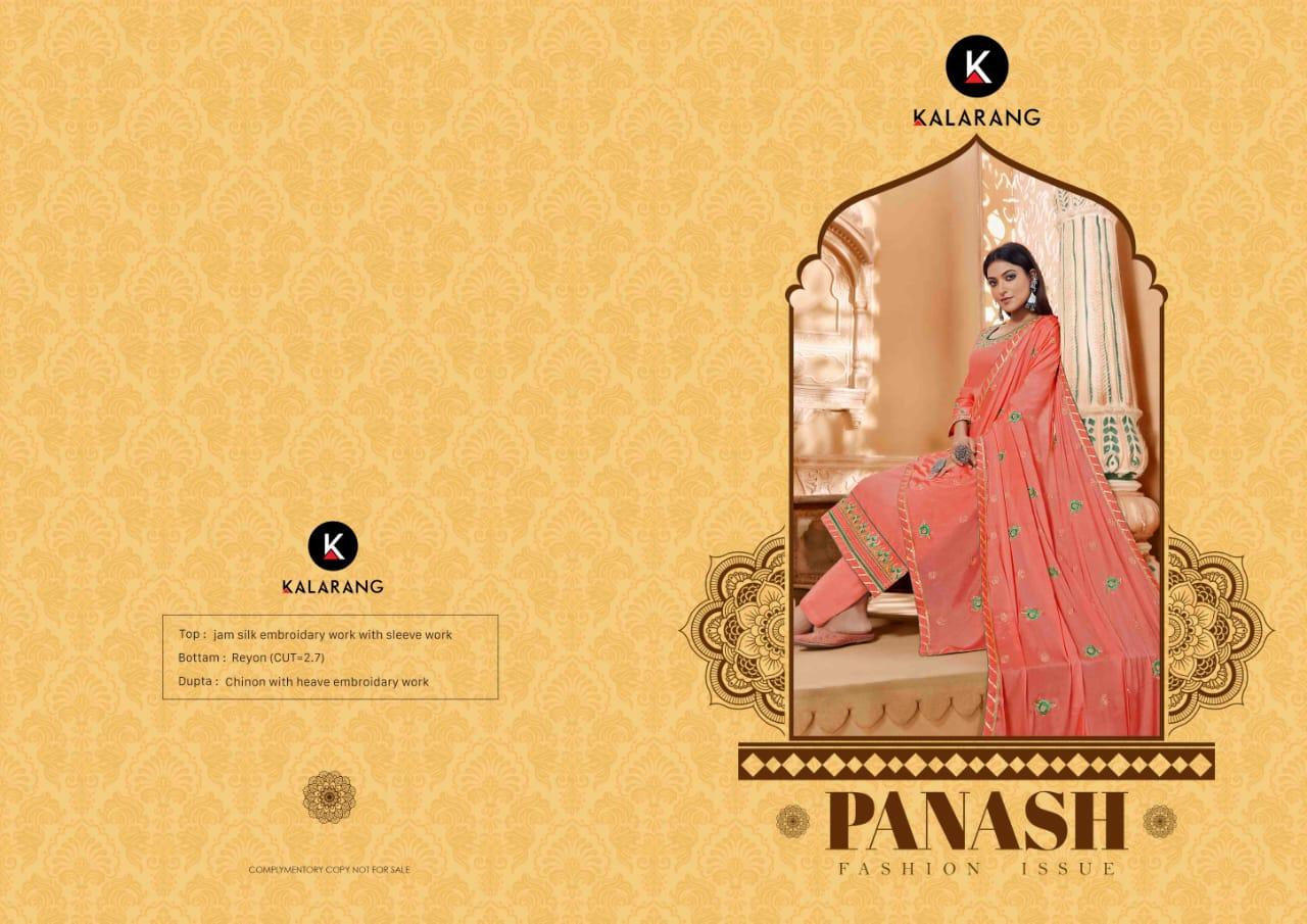 Kalarang Panash Designer Jam Silk With Embroidery Work Suits Wholesale