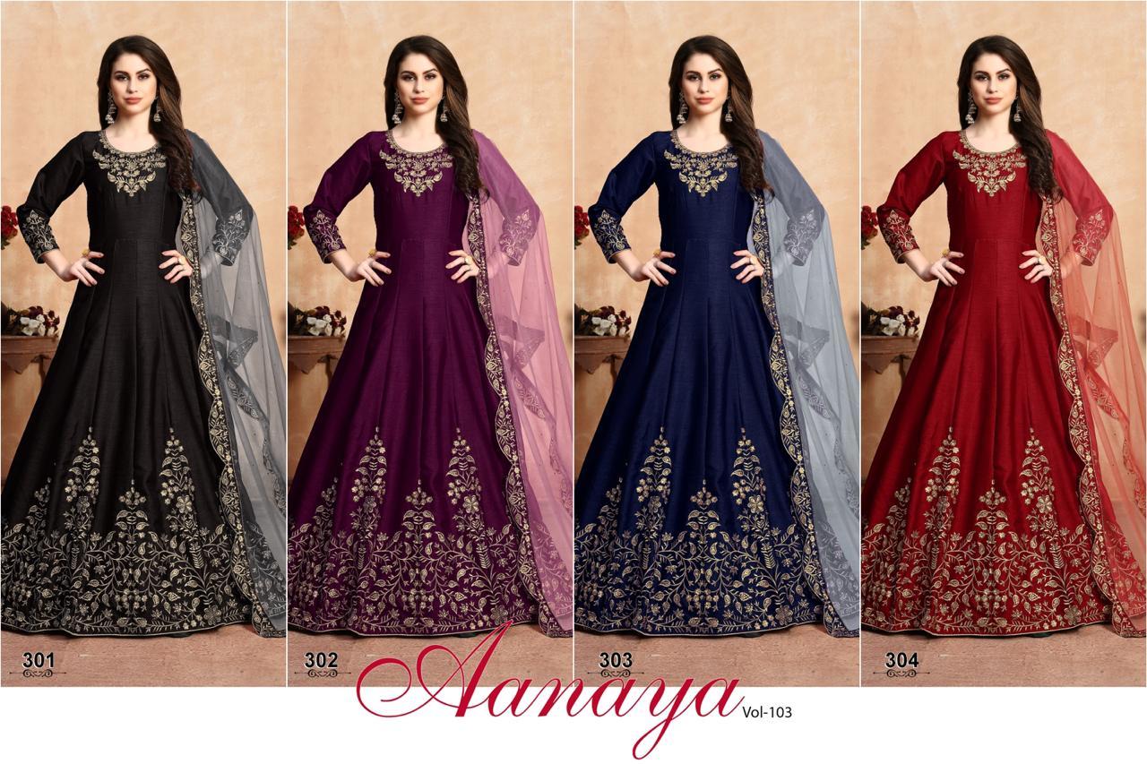 Aanaya 103000 Designer Art Silk Embroidery Work Unstitched Long Partywear Gown With Net Dupatta Wholesale
