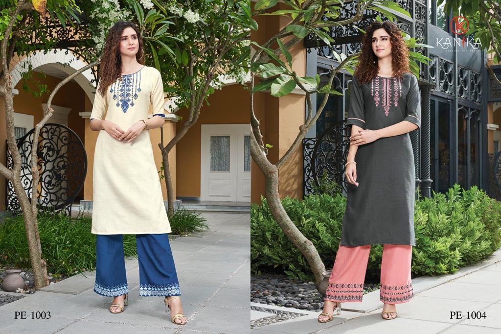 Kanika Plazzo Express Designer Rubby Silk With Embroidery Work Kurti With Plazzo Wholesale