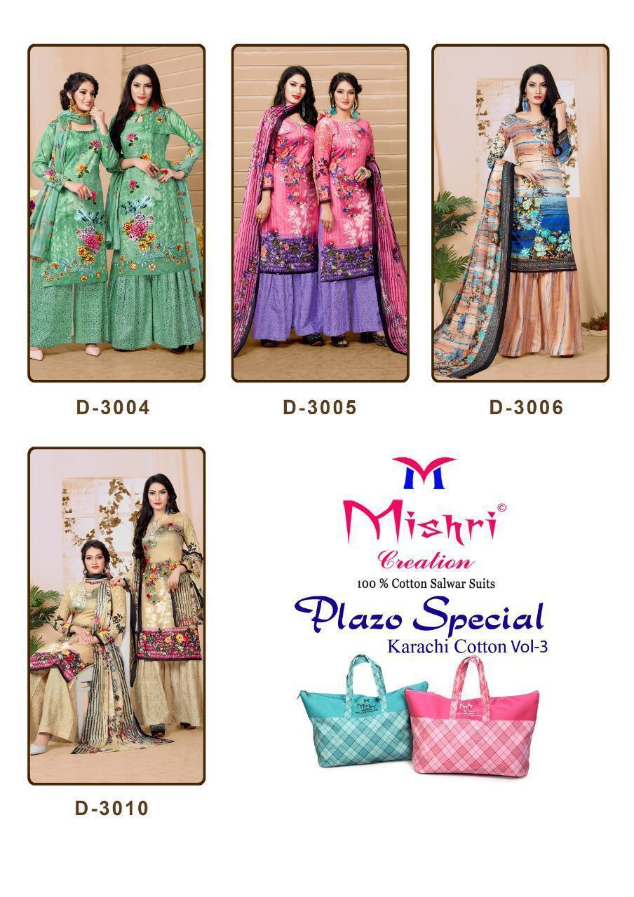 Mishri Creation Plazzo Special Vol 3 Designer Cotton Printed Karachi Style Suits Wholesale