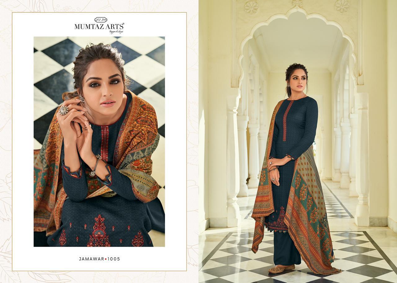 Mumtaz Arts Jamawar Designer Digital Printed Shawl Box Pallu Kashmiri Embroidery Suits Wholesale