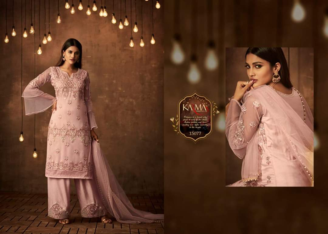 Karma 15080 And 15077 Designer Partywear Wear Embroidery Pearl Work And Stone Work Suits In Single