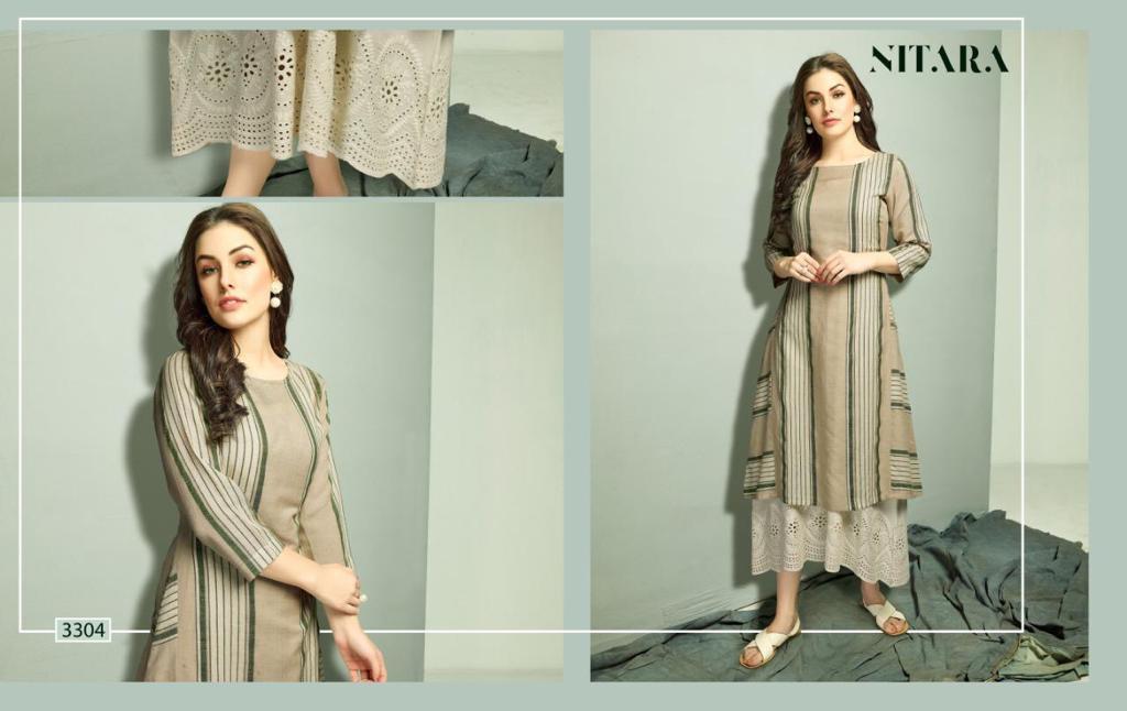 Nitara Reena Designer Cotton Kurti With Cotton Mal Inner Kurti Single