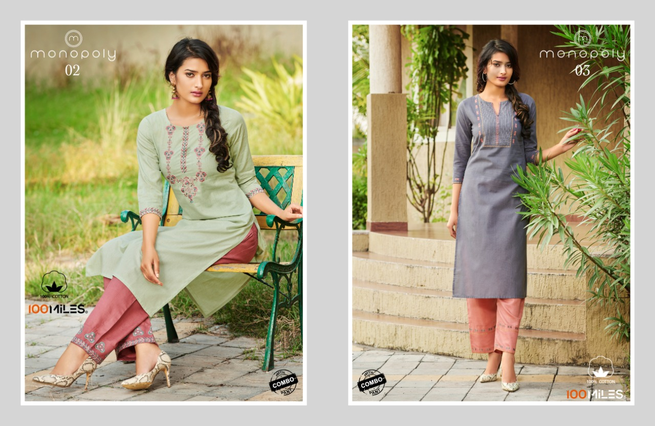 100 Miles Monopoly Designer Pure Cotton Embroidery Work Kurti With Pants Wholesale