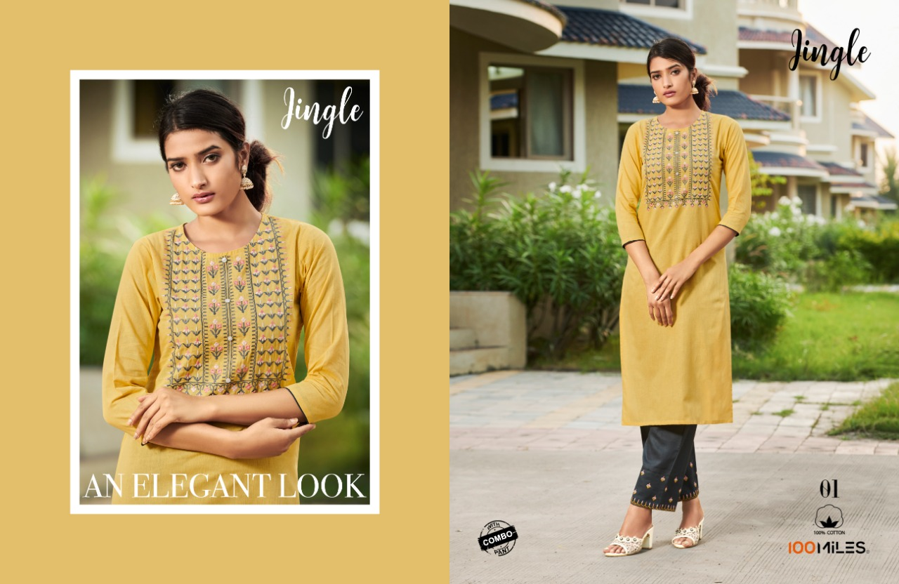 100 Miles Jingle With Bottom Combo Designer Cotton Embroiderd Kurti With Pant Wholesale