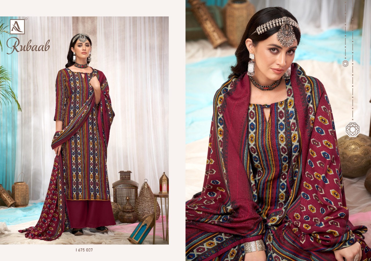 Alok Suit Rubaab Designer Pashmina Print With Embroidery Work Winter Wear Suits Wholesale