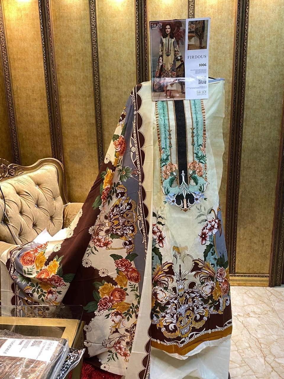 Fair Lady Firdous Designer Lawn Cotton Digital Print Embroidery Work Suits In Singles