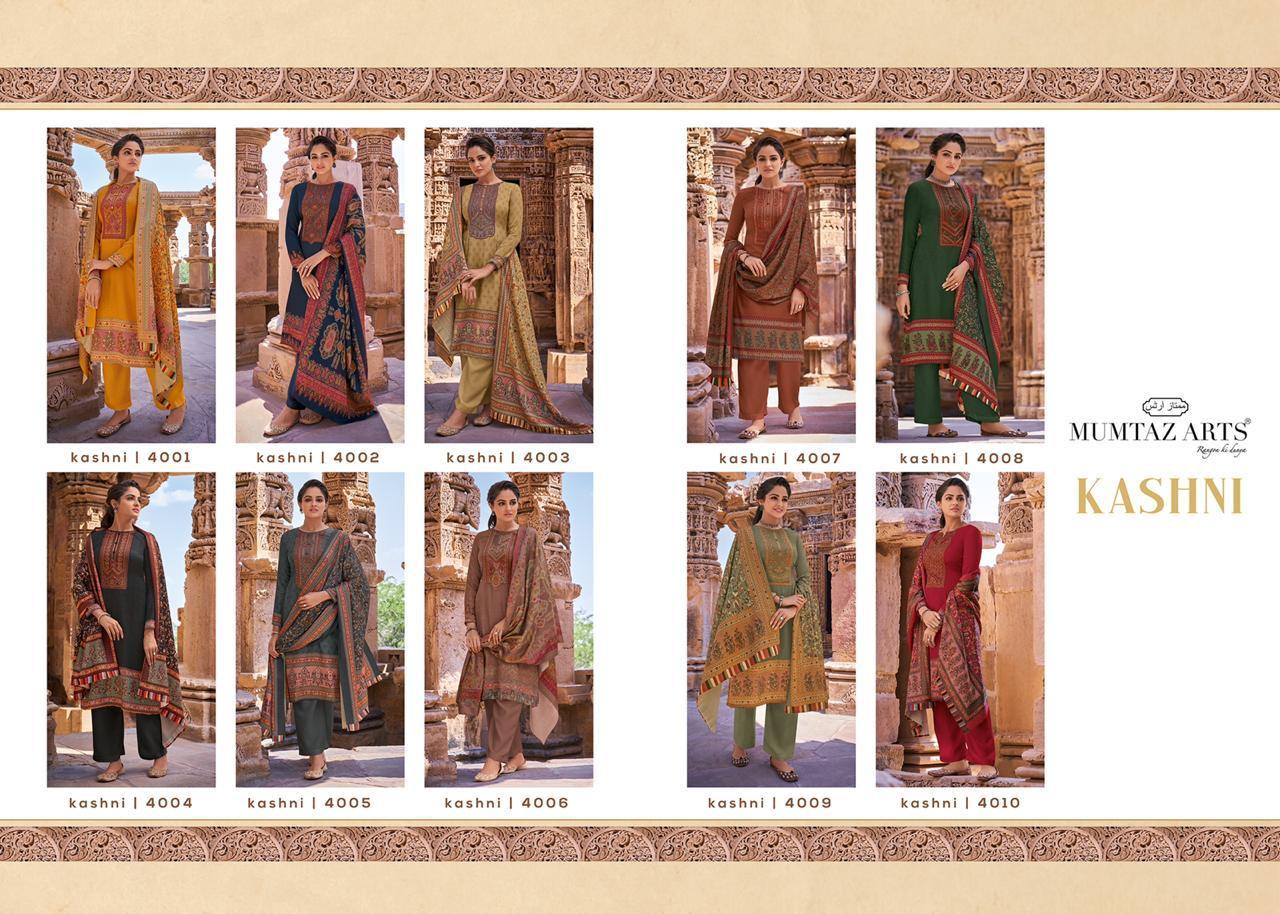 Mumtaz Arts Kashni Designer Digital Printed With Kashmiri Embroidery Work Suits Wholesale