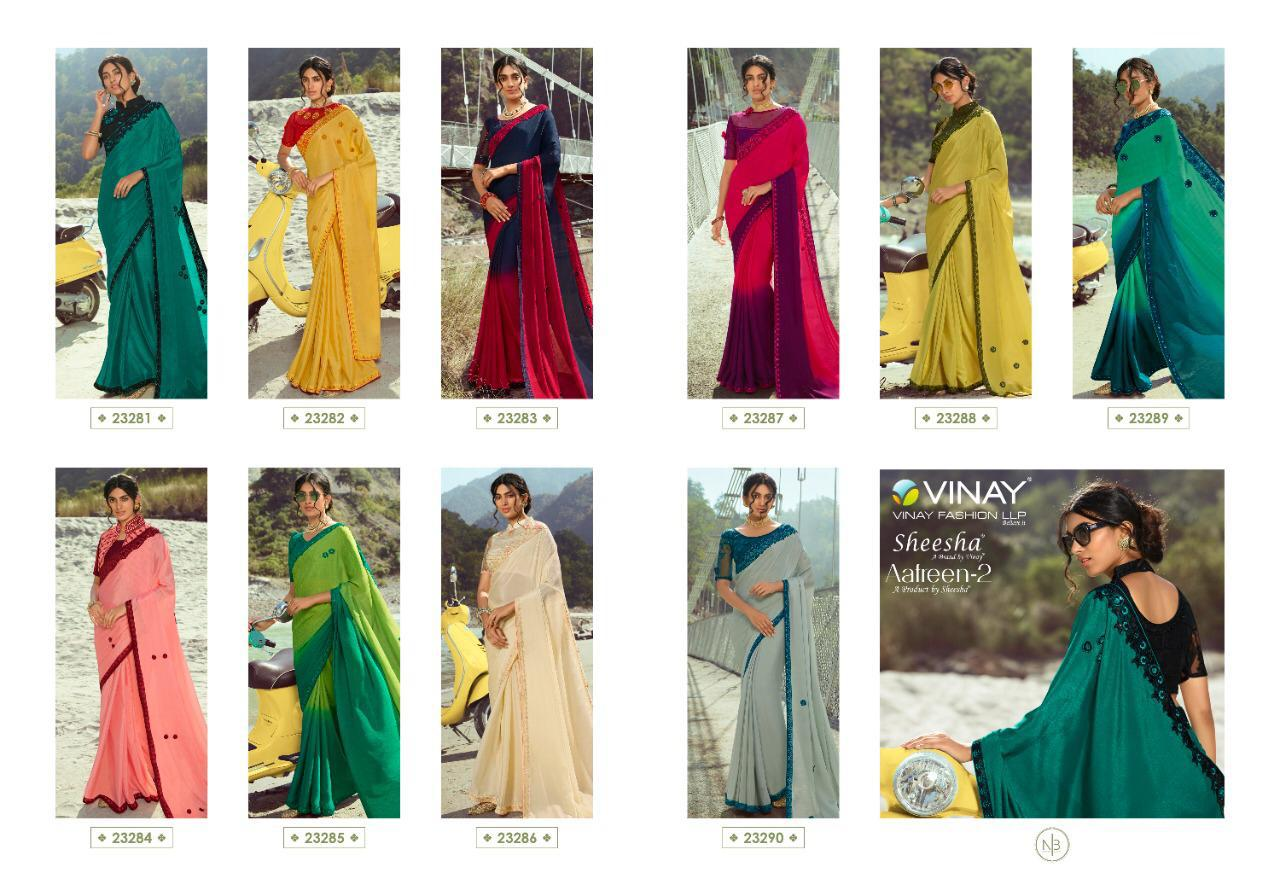 Vinay Fashion Sheesha Afreen 2 Designer Diamond Jacquard Glitter Chiffon Sarees Wholesale