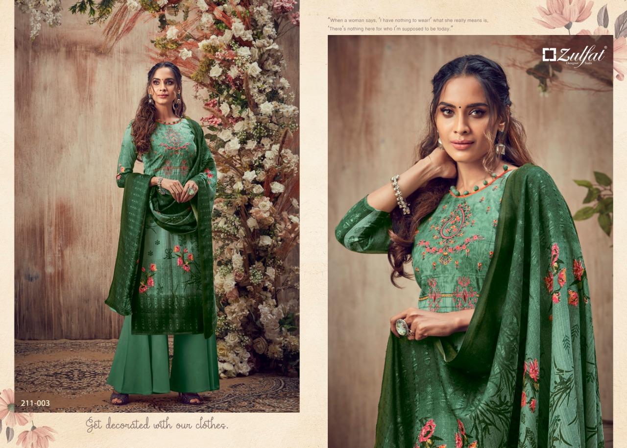Zulfat Designer Simran Designer Pashmina Print Woth Embroidery Work Suits Wholesale
