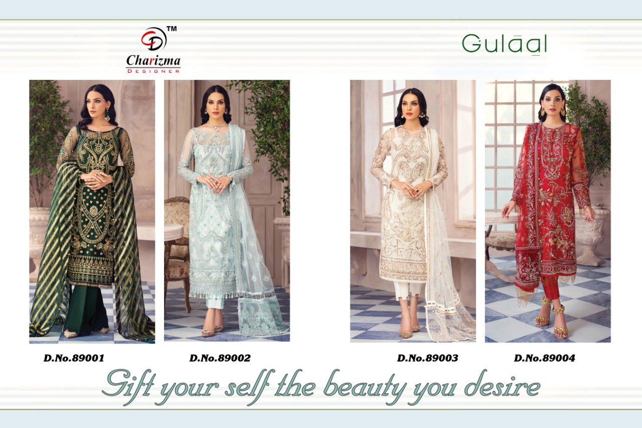 Charizma Designer Gulaal Heavy Net With Fancy Embroidery Work Suits Wholesale
