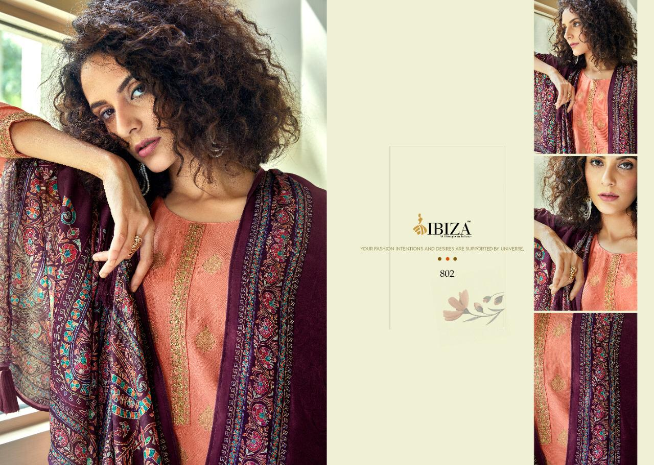 Ibiza Noor Designer Pure Persian Wool Jacquard With Fancy Work Suits Wholesale