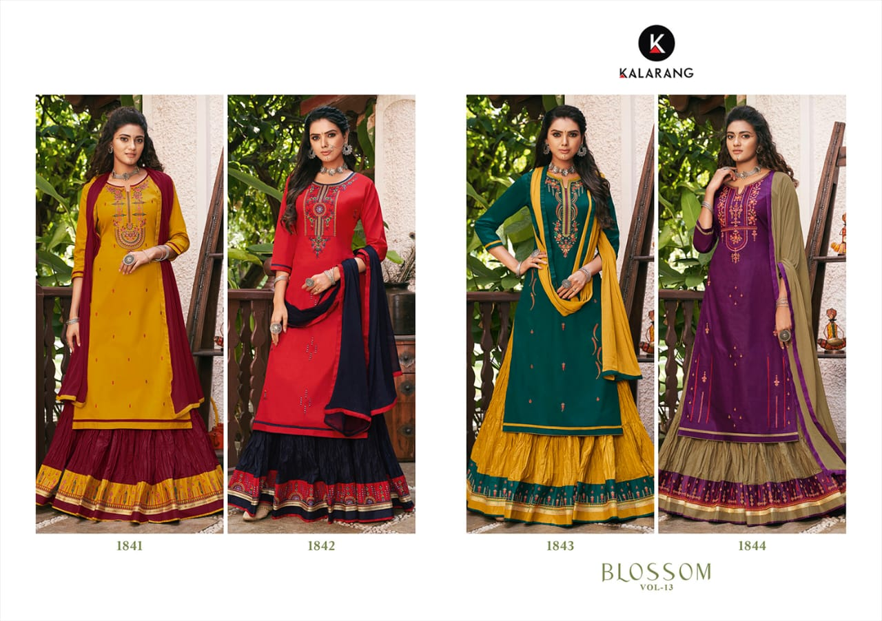 Kalarang Blossom Vol 13 Designer Jam Silk Cotton With Embroidery Work Partywear Lehenga Suit Wholesale