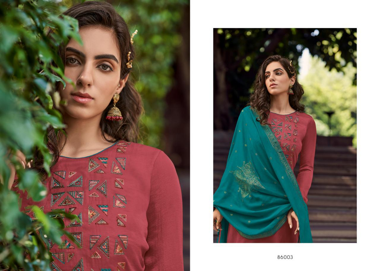 Deepsy Suit Royal Touch 3 Designer Mini Silk Self Embroidery Work Suit With Four Side Lace Tussar Dupatta Wholesale