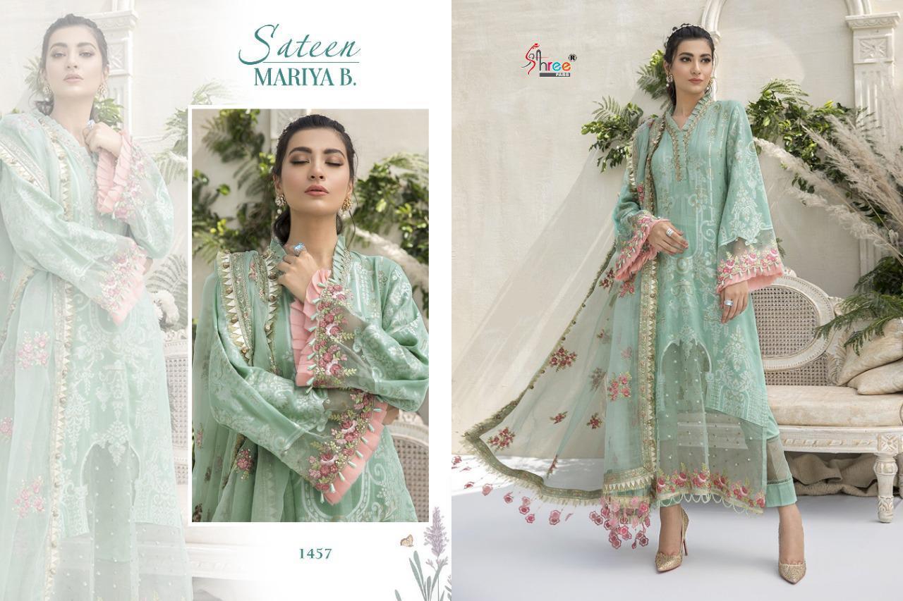 Shree Fab Sateen Mariya B Designer Jam Cotton With Embroidery Work Partywear Pakistani Pettern Suits Wholesale