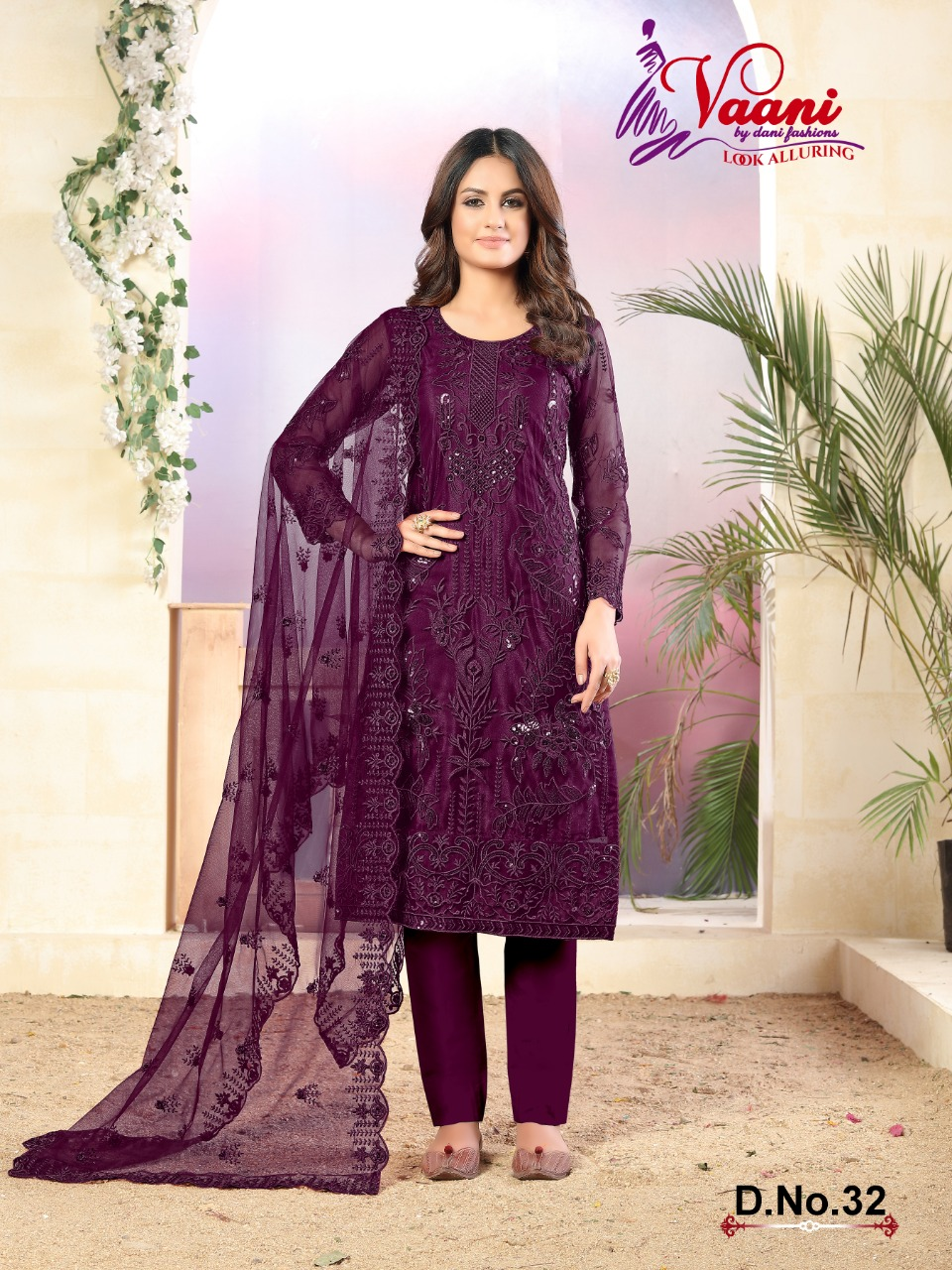 Dani Vaani Vol 3 Designer Net With Heavy Tone Thread And Sequence Work Suits Wholesale