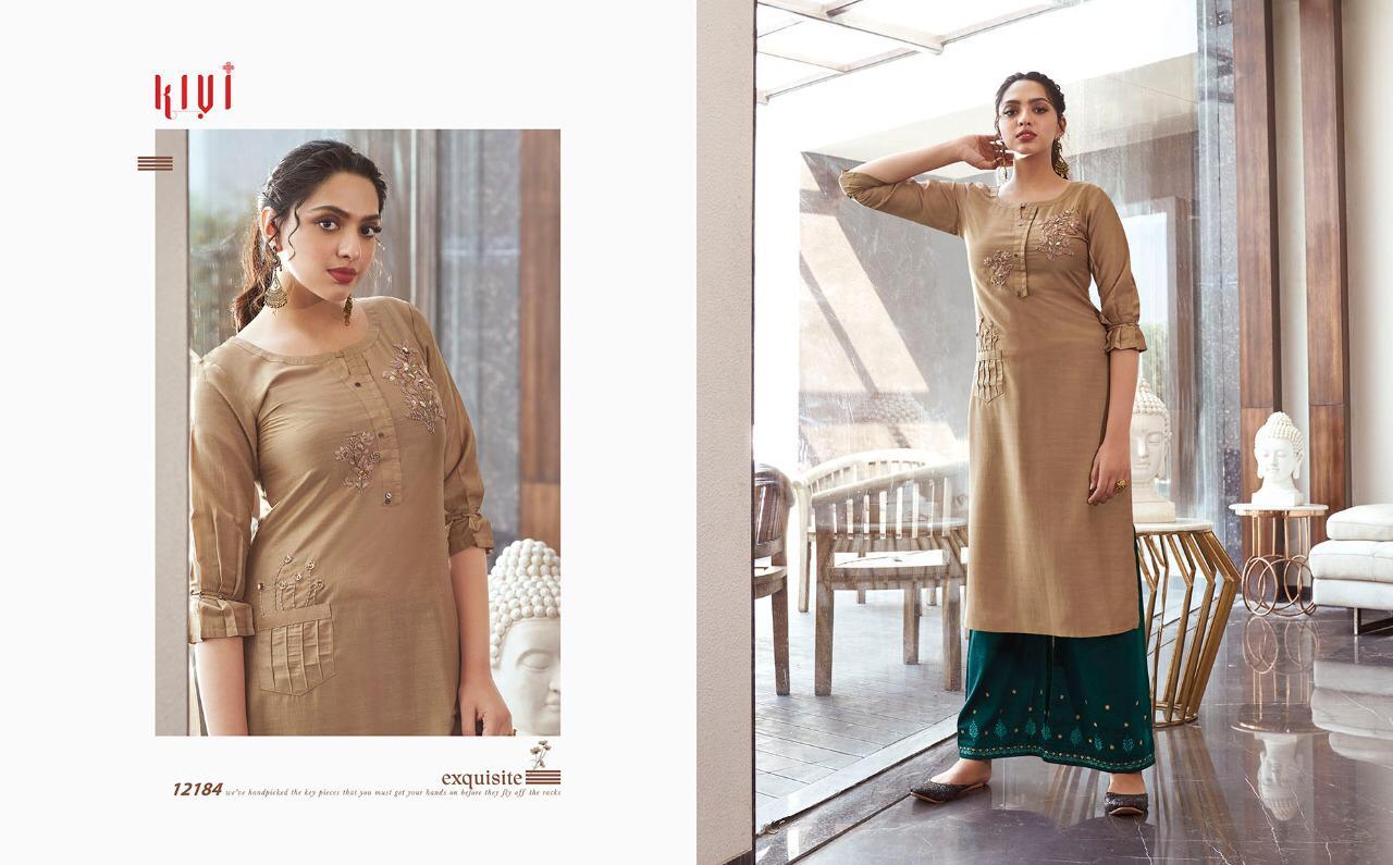 Kajree Kivi Elantra Designer Lining With Embroidery Work Kurti With Plazzo Wholesale