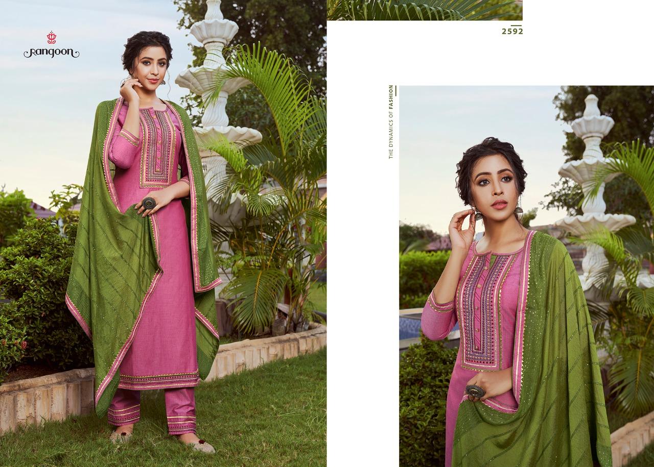 Rangoon Rangoli Designer Solid Silk With Ethnic Work Stitch Ready To Wear Suits Wholesale