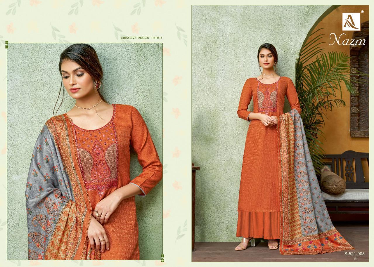 Alok Suit Nazm Designer Pashmina Self Print With Fancy Kashmiri Work Suits Wholesale