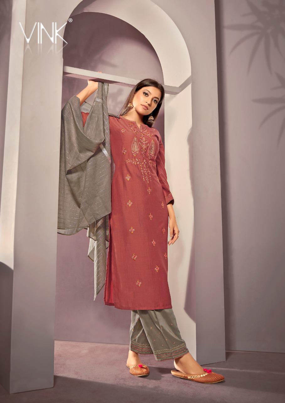 Vink Starlight 2 Designer Viscose Silk Stitch Kurta With Embroiderd Bottom And Jacquard Dupatta Wholesale