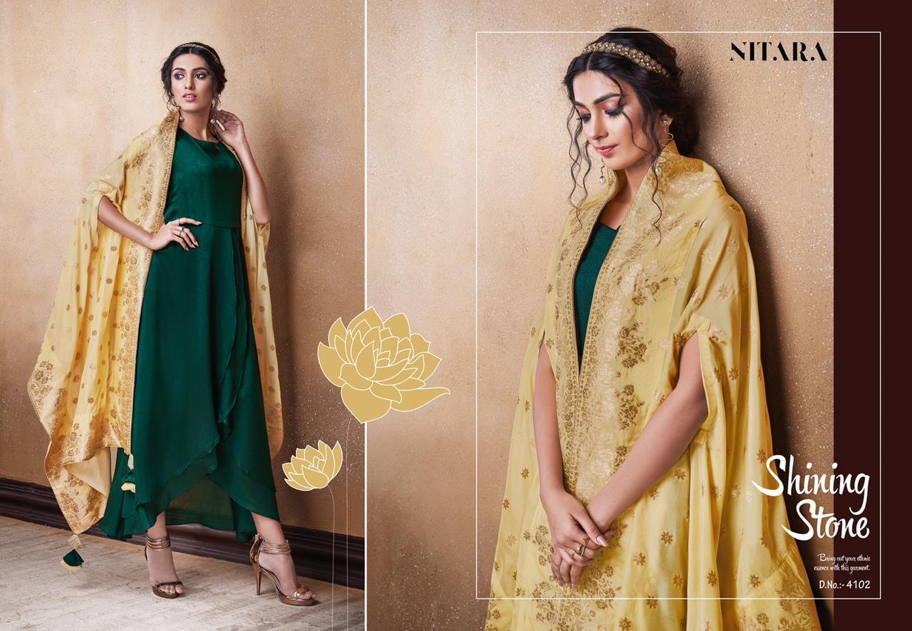 Nitara Lotus Designer Evening Art Silk Gowns With Pure Banarasi Dola Dupatta Wholesale