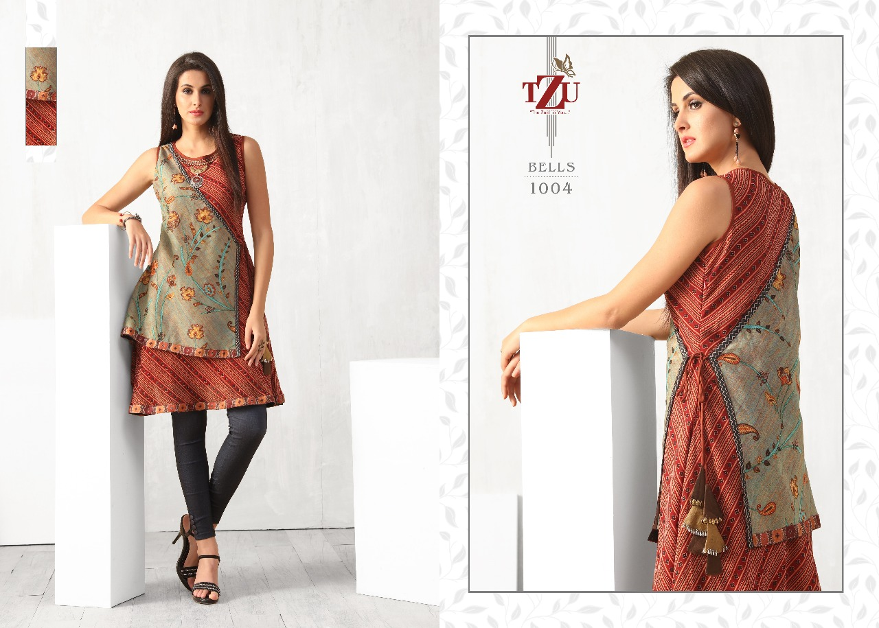 Tzu Lifestyle Bells Muslin Georgette Silk Designer Tops Wholesale