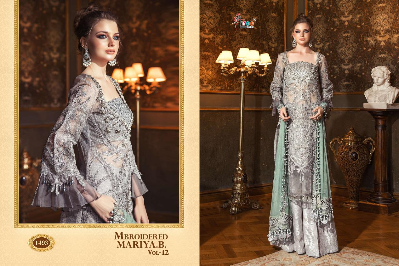 Shree Fab Mbroidered Maria B  Vol 12 Designer Heavy Suits Wholesale