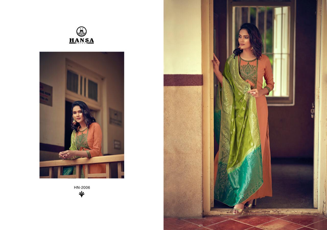 Hansa Saanj Dola Silk With Work Designer Suits Wholesale