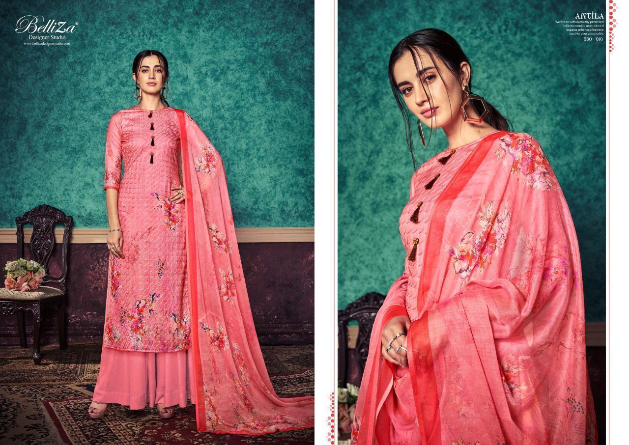 Belliza Designer Studio Pure Pashmina Digital Print Heavy Embroidery Work Suits Wholesale