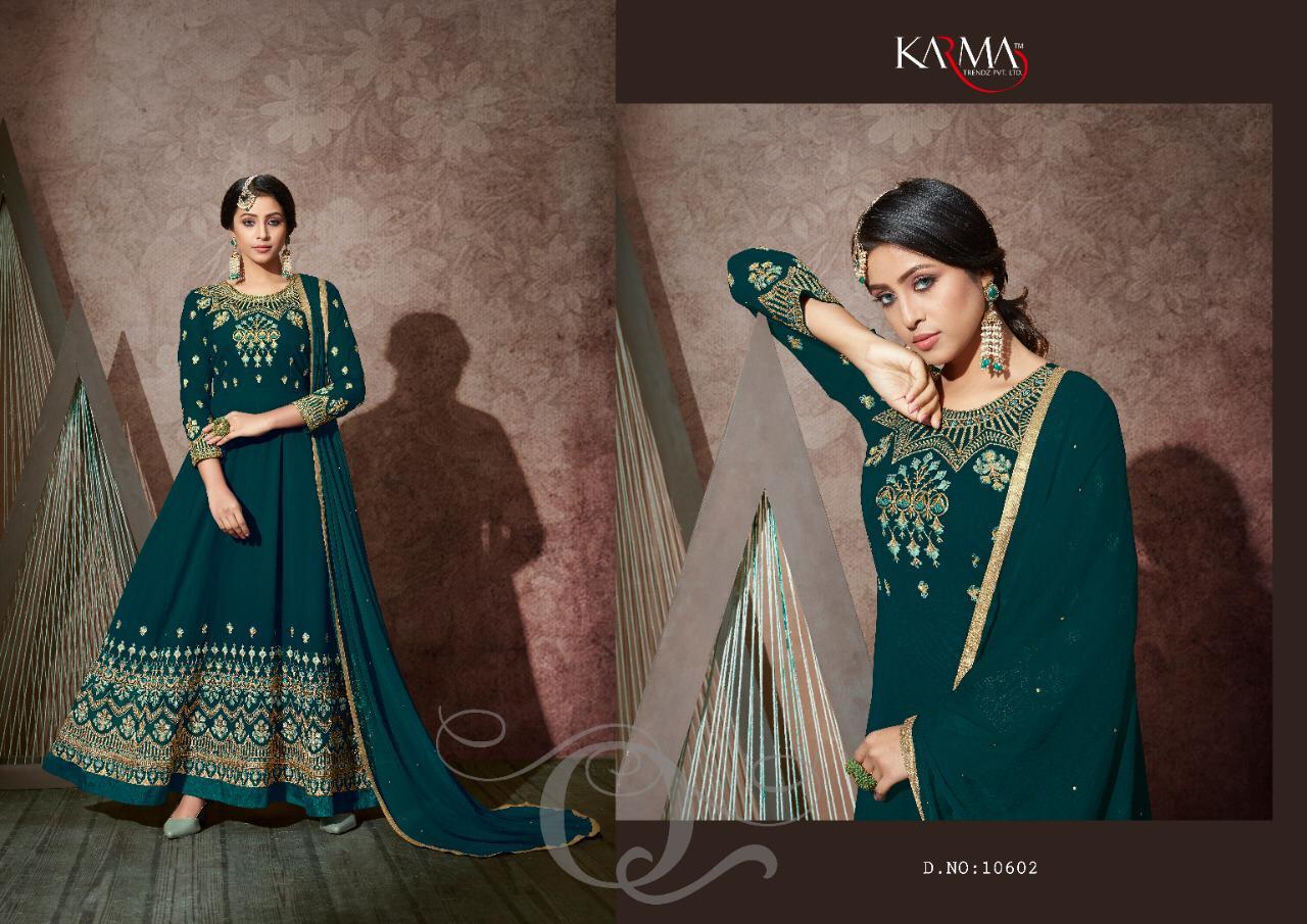 Karma 10602 Series Georgette Embroided Anarkali Stone Work Designer Suits Wholesale