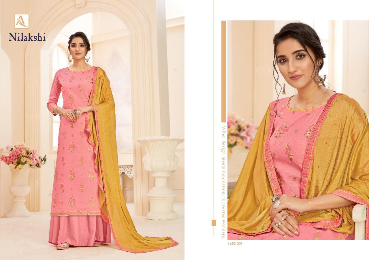 Alok Suits By Nilakski Pure Dola Jacquard Fancy Butta With Khatli Work Suits Wholesale