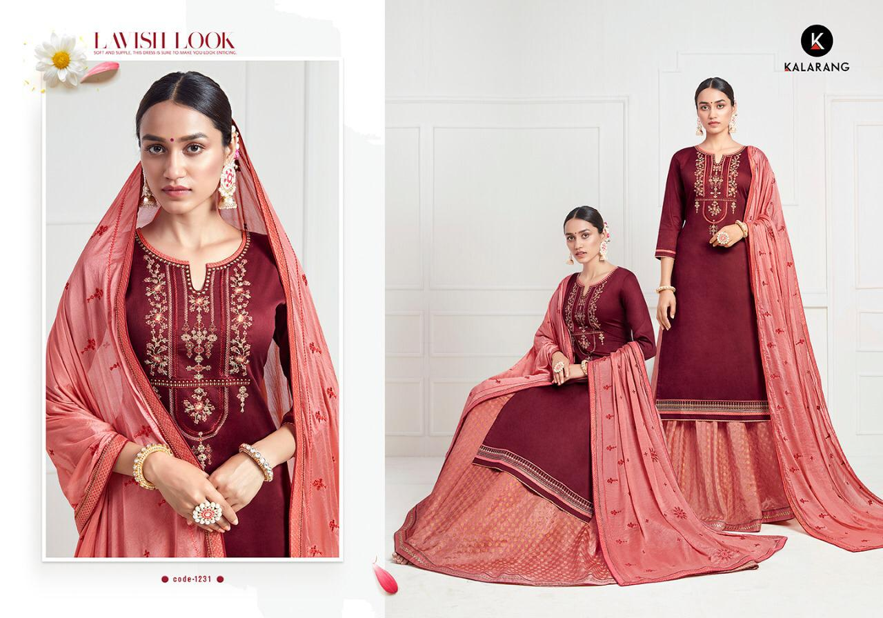 Kalarang Black Berry Designer Jam Silk Cotton With Embroidery Work Suits In Best Wholesale Rate