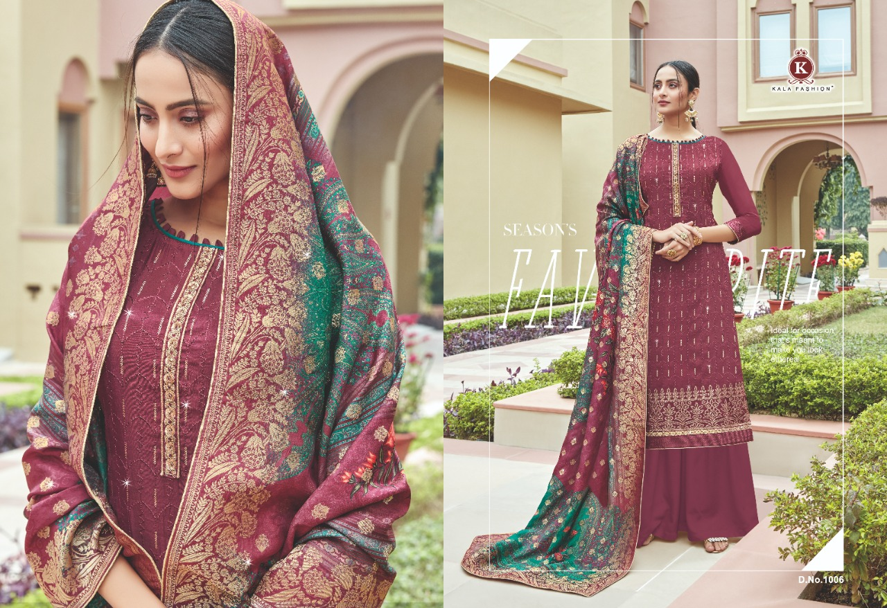 Kala Fashion Kala Jacquard Vol 2 Designer Upada Dyed With Embroidery Work Suits In Best Wholesale Rate