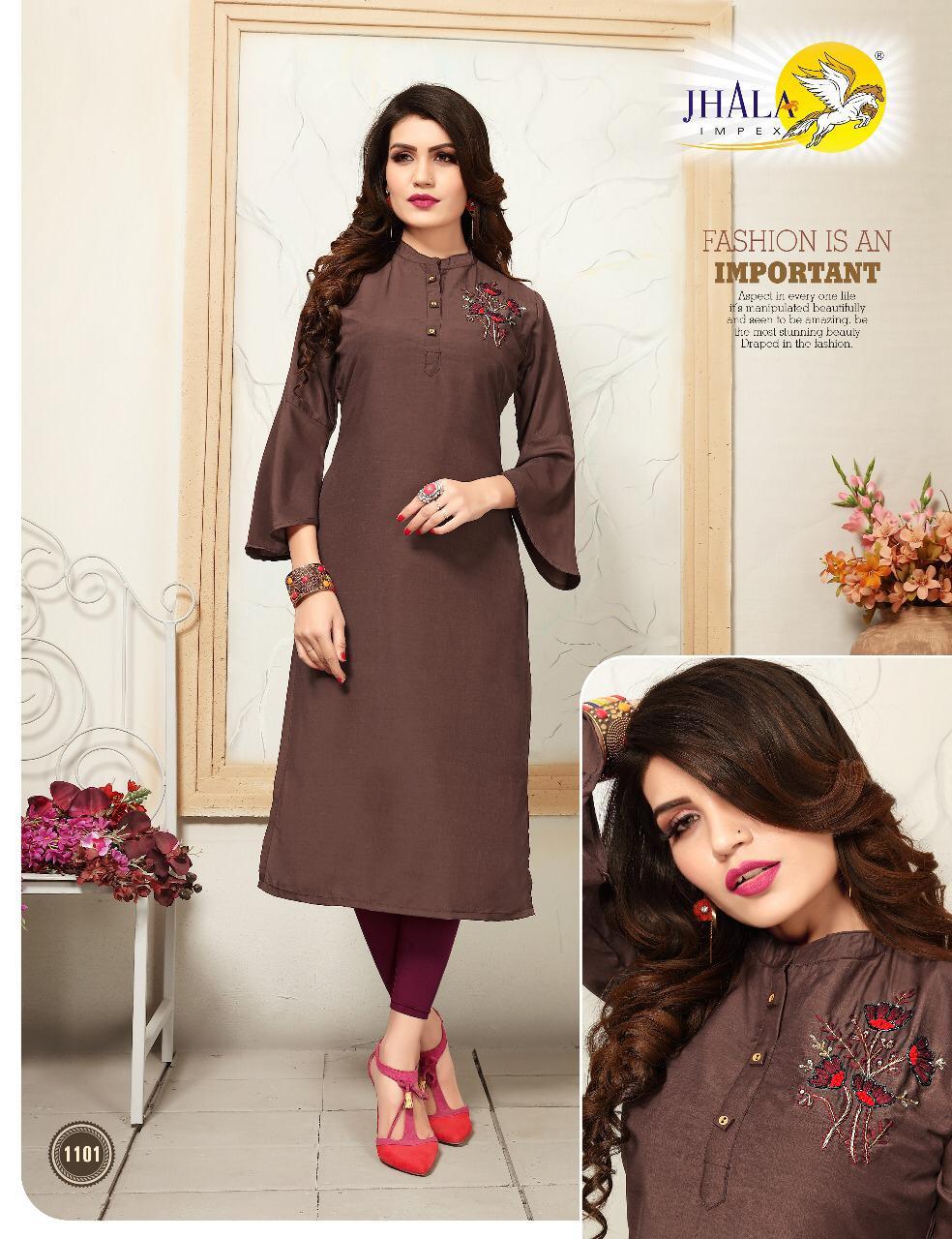 Jhala Khaatlli Designer Muslin Silk Daily Wear & Office Wear Kurtis In Best Wholesale Rate