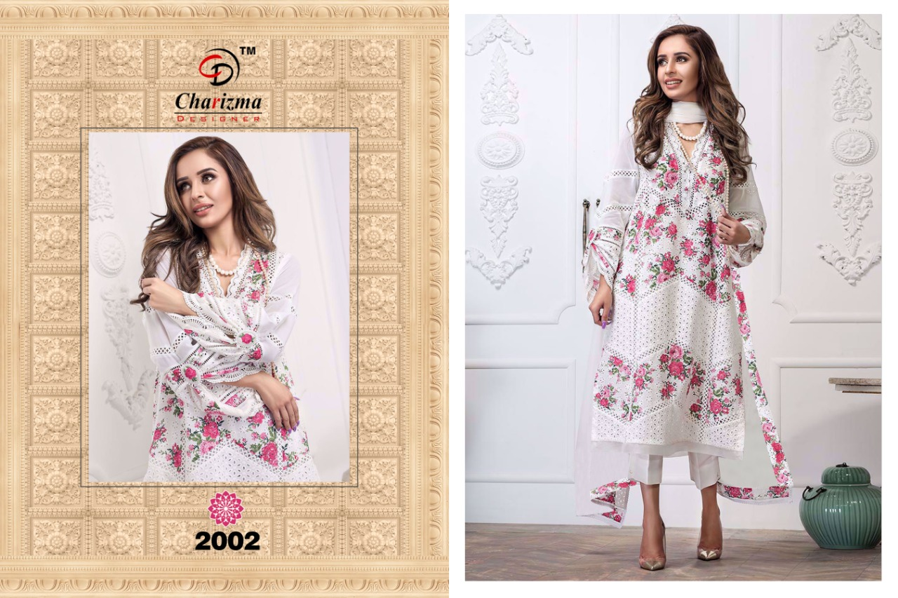 Charizma Yellow & White Colour Edition Designer Cambric Cotton With Embroidery Work Suits In Best Wholesale Rate