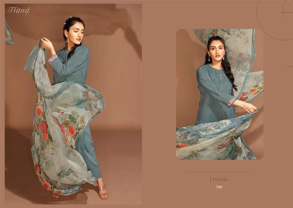 Itrana Freesia Designer Embroidery With Viscose Silk Digital Printed Outdoor Wear Suits In Best Wholesale Rate