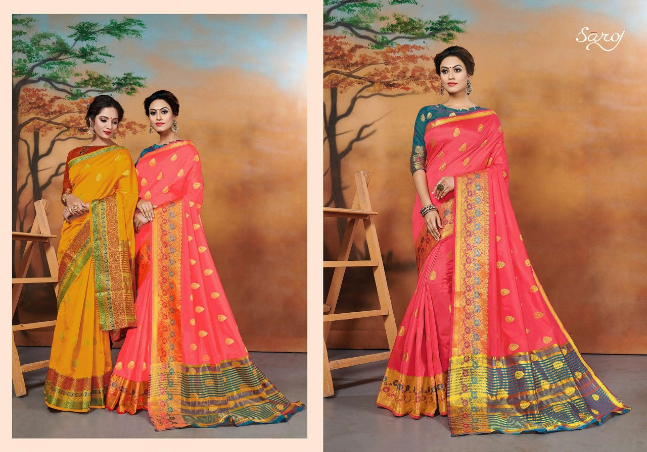 Tanishka Saroj Saree Designer Silk With Weaving Hutta Party Wear Heavy Embroidery Saree Wholesale